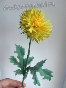 Красивые хризантемы из бумаги