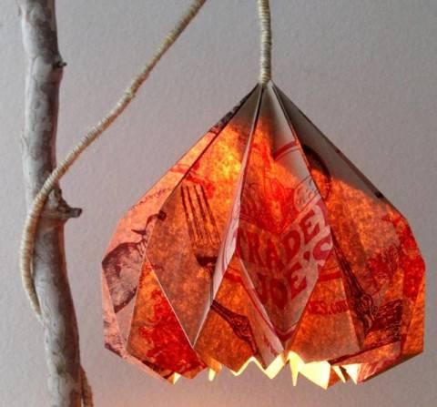 Оригинальный светильник из бумажного пакета