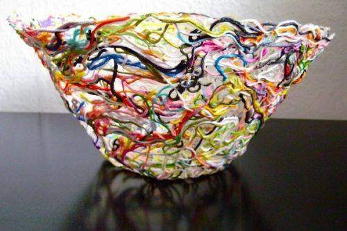 Ажурная ваза из остатков пряжи