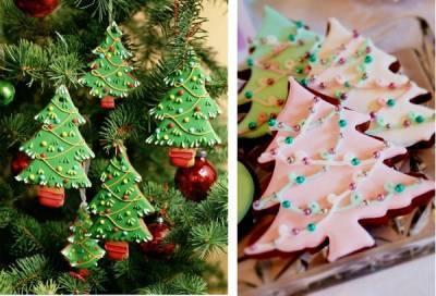 Новогоднее печенье как украшение для ёлки.