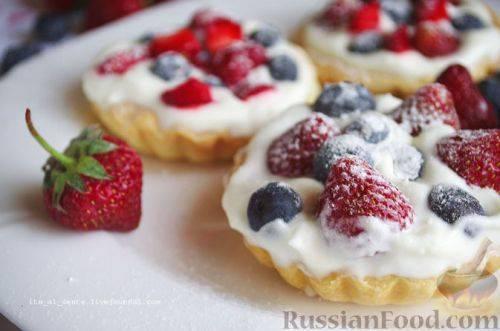 Вкуснейшие песочные корзиночки с фруктами и муссом