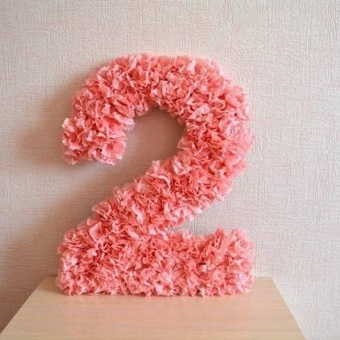 Очень нежная цифра 2 на день рождения своими руками