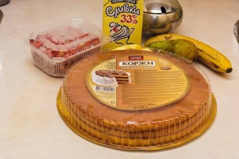 Торт из готовых бисквитных коржей рецепт с фото