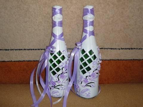 Украшаем бутылки шампанского к свадьбе