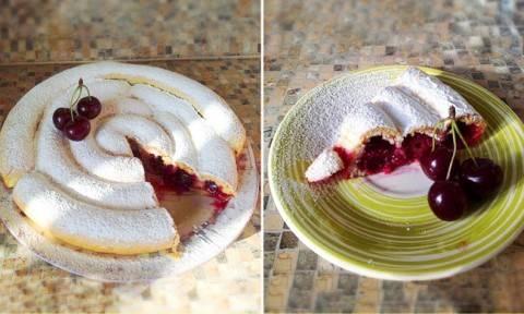 Очень быстрый и красивый пирог с вишней